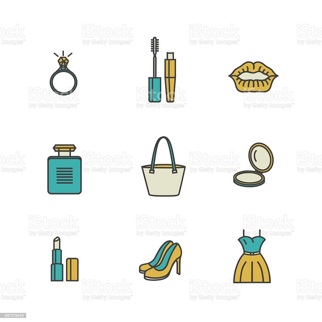 Beauty and makeup icons related to women. royalty-free beauty and makeup icons related to women stock vector art & more images of arts culture and entertainment