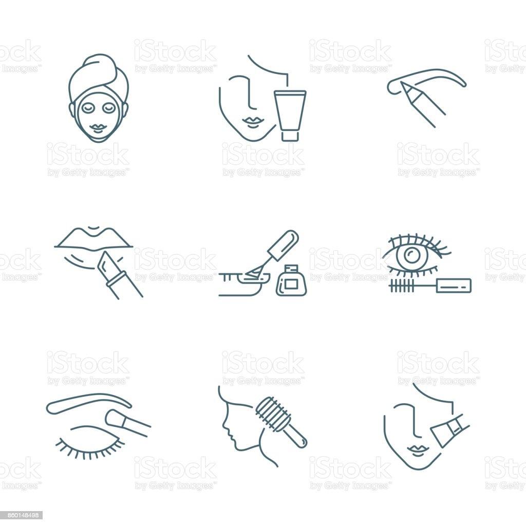 Beauty and makeup vector icons set - Grafika wektorowa royalty-free (Biznes)