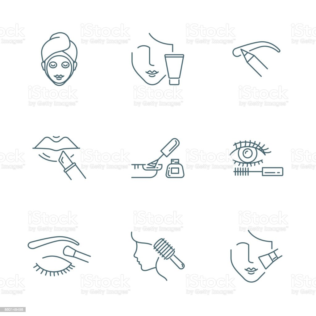 Beauty and makeup vector icons set vector art illustration
