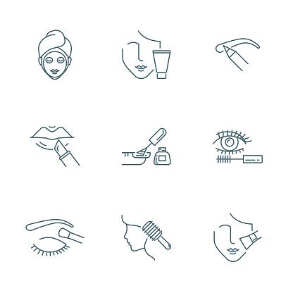 Beauty And Makeup Vector Icons Set - Stockowe grafiki wektorowe i więcej obrazów Biznes