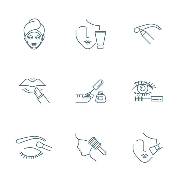 stockillustraties, clipart, cartoons en iconen met schoonheid en make-up vector icons set - skincare