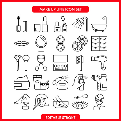 Beauty and makeup vector icons set.Editable Stroke