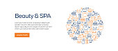 Beauty and SPA Banner Template with Line Icons. Modern vector illustration for Advertisement, Header, Website.