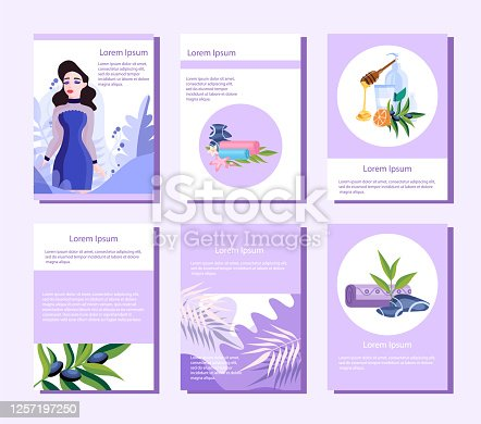 Beauty and spa center web banner or brochure set