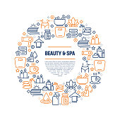 Beauty and SPA Concept - Colorful Line Icons, Arranged in Circle