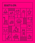 Beauty and SPA Concept. Geometric Retro Style Banner and Poster Concept with Beauty and SPA Line Icons