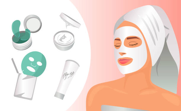 ilustrações de stock, clip art, desenhos animados e ícones de beauty and spa. eye patches, face cream, face mask, hand cream mockup isolated on white. women in mask with towel. young and beauty. realistic vector illustration for your design. skin care - mulher natureza flores e piscina