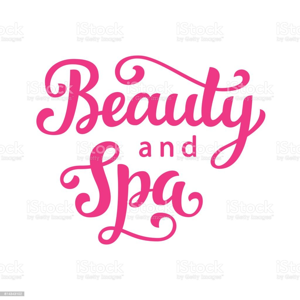 Beauty and spa salon vector logo with hand lettering vector art illustration