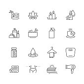 Beauty and SPA - Set of Thin Line Vector Icons