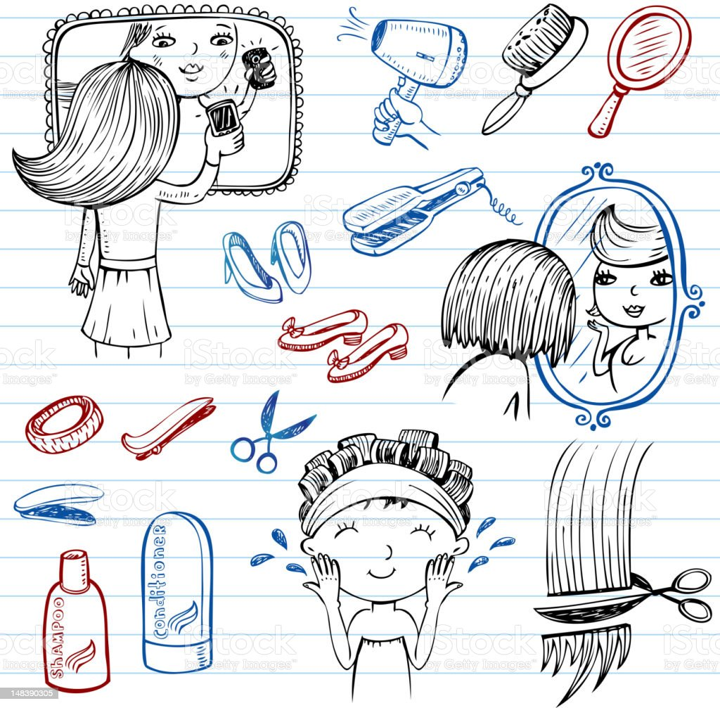 Beauty and style doodles royalty-free stock vector art