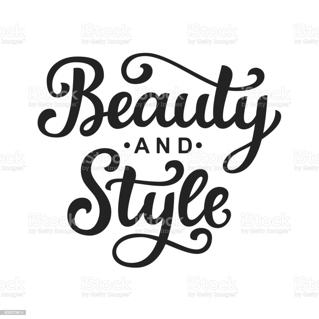 Beauty and style vector icon with hand lettering vector art illustration
