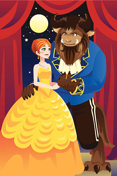 Beauty and the beast vector art illustration