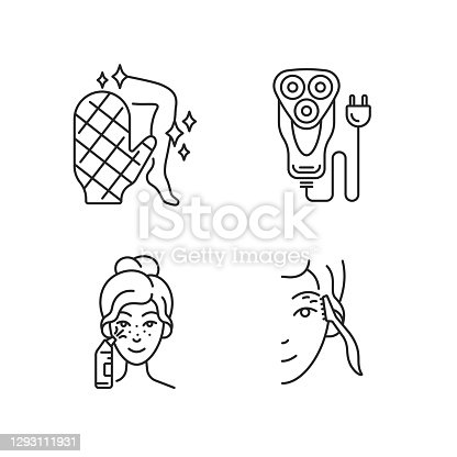 Beauty appliances linear icons set. Body scrubber. Electric shaver. Blackhead remover. Eyebrow razor. Customizable thin line contour symbols. Isolated vector outline illustrations. Editable stroke