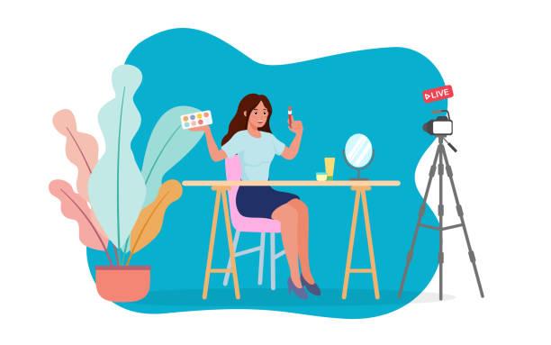 bildbanksillustrationer, clip art samt tecknat material och ikoner med skönhet bloggare testa ögonskugga borste framför kameran inspelning makeup tutorial video live streaming hemma. platt vektor för social avståndstagande och stanna hemma koncept bland pandemi av coronavirus - makeup artist