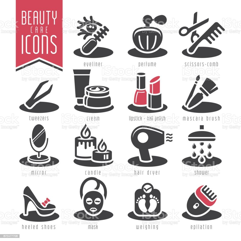 Beauty care icon set. vector art illustration