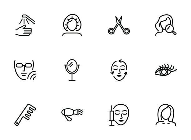 ilustraciones, imágenes clip art, dibujos animados e iconos de stock de conjunto de iconos de línea de cuidado de belleza - dermatología