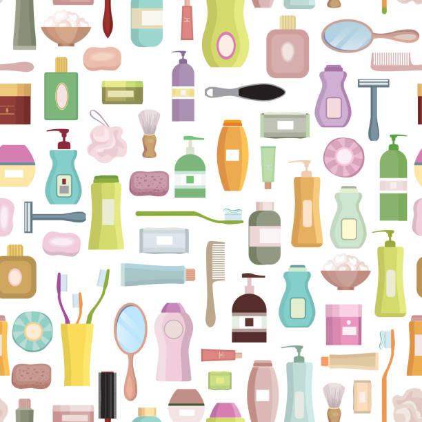 schönheitspflege im zusammenhang mit hintergrund einstellen. hygiene-symbol musterdesign. - shampoos stock-grafiken, -clipart, -cartoons und -symbole