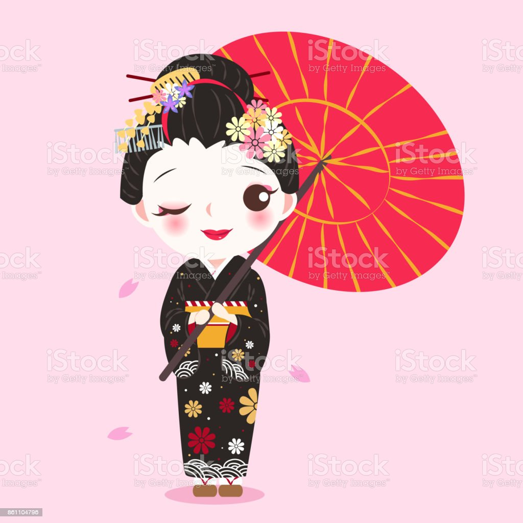 Geisha De Dessin Anime De Beaute Cliparts Vectoriels Et Plus D