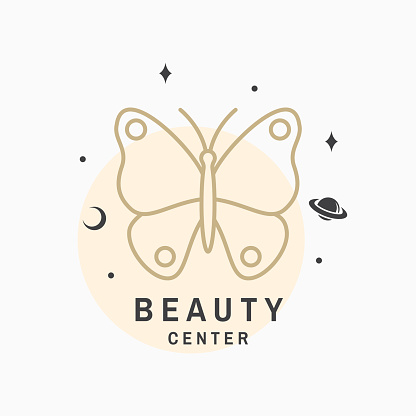 Beauty center with butterfly for logo, label, badge, sign, emblem. Set for cosmetics, jewellery, beauty and handmade products, tattoo studios. Linear trendy style. Vector illustration. Thin line icon