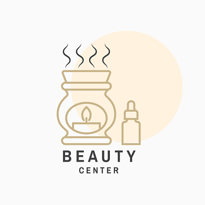 Beauty center with ceramic candle aroma oil lamp for logo, label, badge, sign, emblem. Set for cosmetics, jewellery, beauty and handmade products, tattoo studios. Linear trendy style. Vector