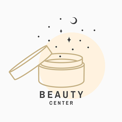 Beauty center with cosmetic cream for logo, label, badge, sign, emblem. Set for cosmetics, jewellery, beauty and handmade products, tattoo studios. Linear trendy style. Vector. Thin line icon