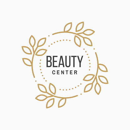 Beauty center with flowers for logo, label, badge, sign, emblem Set for cosmetics, jewellery, beauty and handmade products, tattoo studios. Linear trendy style. Vector illustration. Thin line icon