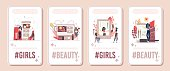 Beauty Channel Streamer, Cosmetic Products Reviewer, Makeup Consultant Vertical Banner, Poster Set. Beauty Blogger Testing Cosmetics, Communicating with Followers, Subscribers Flat Vector Illustration
