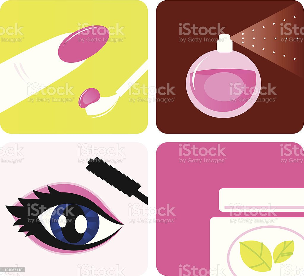 Beauty, cosmetic and makeup icons isolated on white royalty-free stock vector art