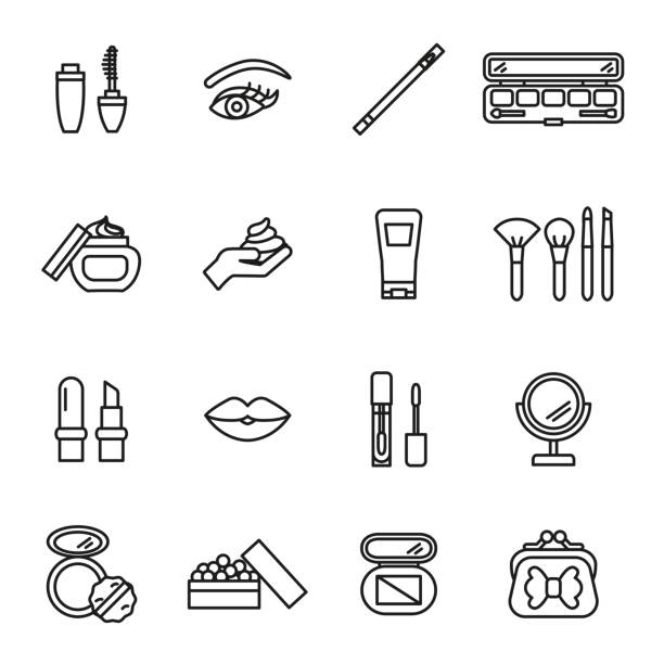 ilustrações de stock, clip art, desenhos animados e ícones de beauty, cosmetic and make-up icons. line style stock vector. - make up