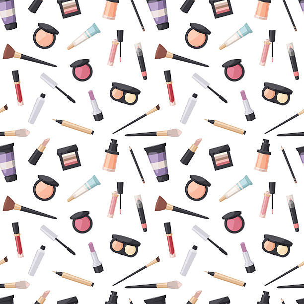 beauty cosmetic seamless pattern - makeup stock illustrations