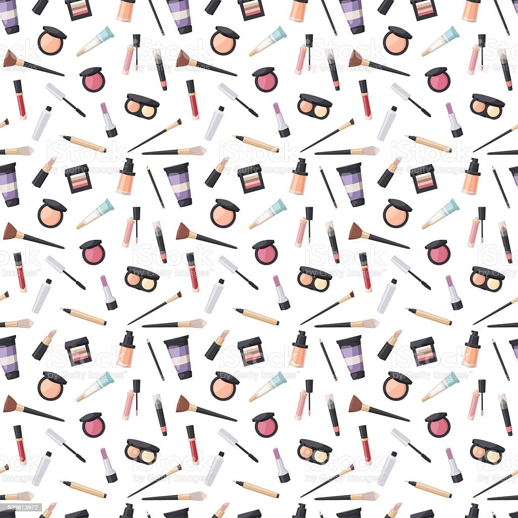 Beauty cosmetic seamless pattern vector art illustration
