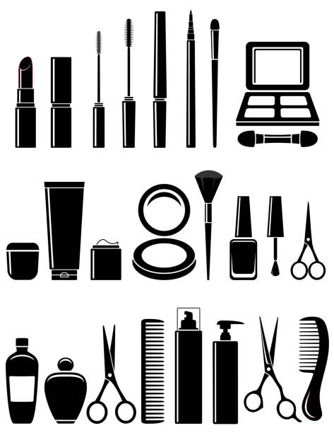 illustrazioni stock, clip art, cartoni animati e icone di tendenza di beauty cosmetic set - make up