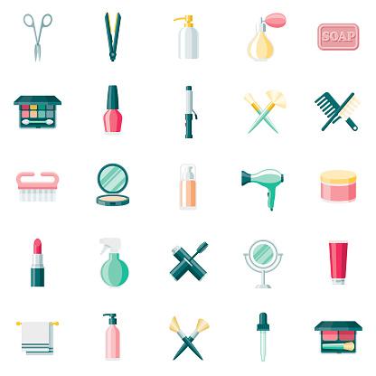 Beauty & Cosmetics Flat Design Icon Set