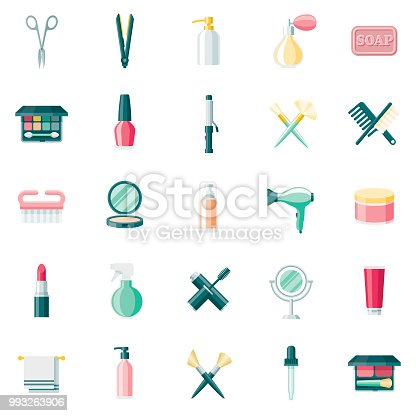 A set of 25 cosmetics and beauty flat design icons on a transparent background. File is built in the CMYK color space for optimal printing. Color swatches are Global for quick and easy color changes.
