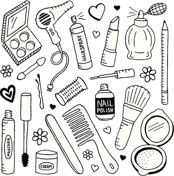 schönheit und kritzeleien - haarsprays stock-grafiken, -clipart, -cartoons und -symbole
