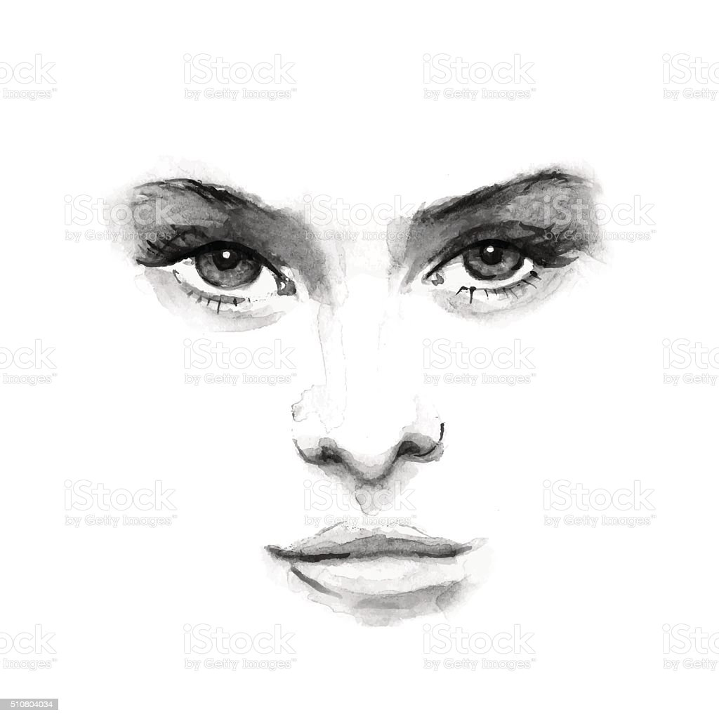 beauty face 1. Black and white watercolor in vector vector art illustration