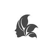 Beauty Face Shillouette Illustration Vector Template. this logo symbolize, some thing beautiful, soft, calm, nature, metamorphosis, graceful, and elegant. Suitable for Creative Industry, Multimedia, entertainment, Educations, Shop, spa, beauty cosmetic, beauty salon and any related business.