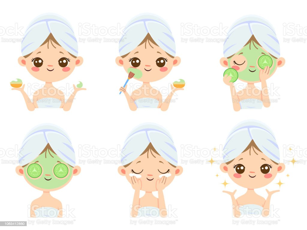 Beauty Face Mask Woman Skin Care Cleaning And Face Brushing Acne Treatment Masks Vector Cartoon Illustration Stock Illustration Download Image Now Istock