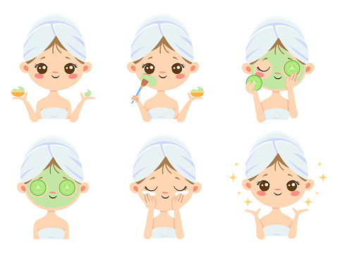 beauty face mask woman skin care cleaning and face