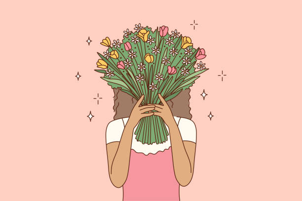Beauty, fashion, gift, love concept Beauty, fashion, gift, love concept. Young african american woman girl cartoon character covering face hiding behind the bouquet of flowers. Fashionable lifestyle and womens day present illustration. african american valentine stock illustrations
