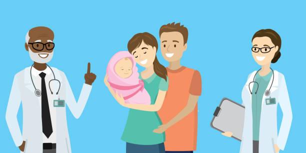ilustrações, clipart, desenhos animados e ícones de pai e matriz da beleza com bebê recém-nascido e doutores felizes, - novo bebê