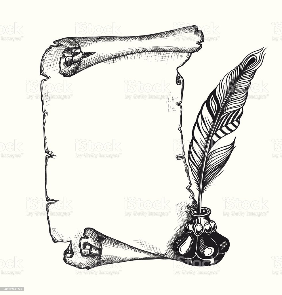 Scroll Drawing: Beauty Feather Blank Scroll Paper Inkwell Set Stock Vector