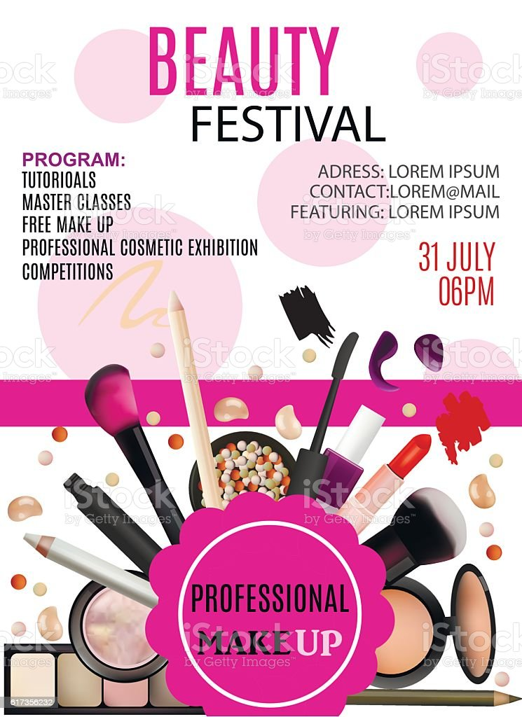 Beauty Festival Poster Design. Beauty Festival Poster Design. Cosmetic Products, Professional Make Up, Care. Printable Template for Business Banner, Poster, Voucher, Booklet. Advertisement stock vector