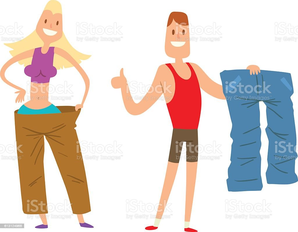 Beauty fitness people weight loss vector art illustration