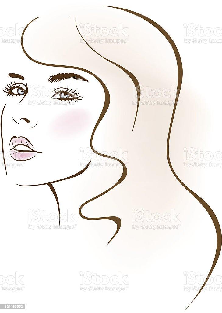 beauty girl face. design elements. vector art illustration