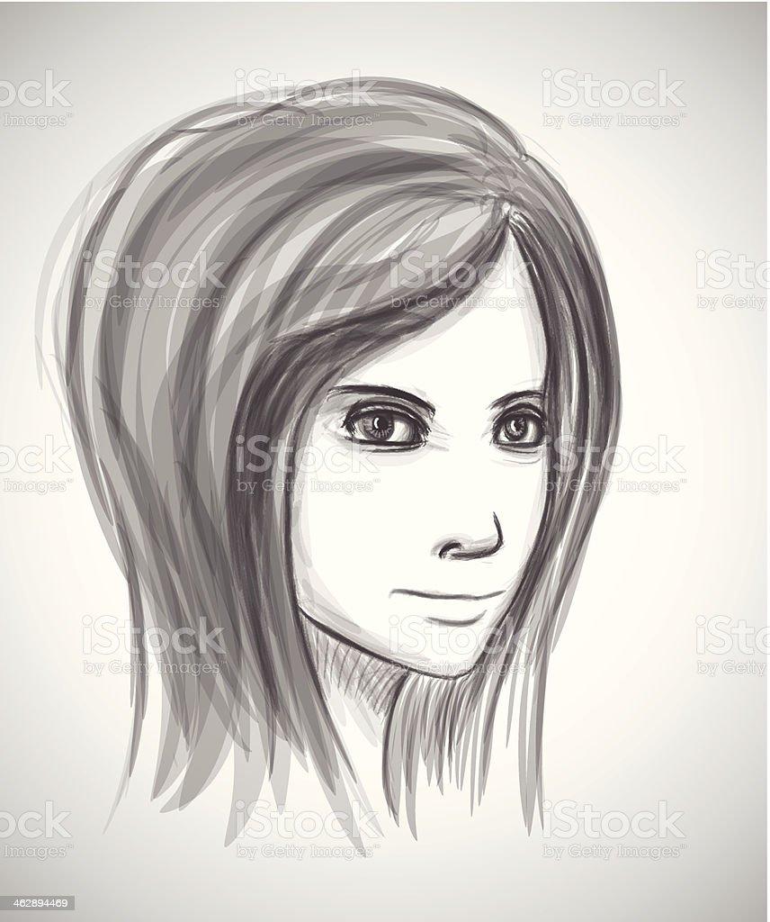 Bellezza Ragazza Faccia Matita Disegno Ritratto Imitazione Di