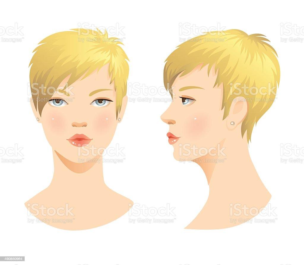 Beauty girl face. vector art illustration