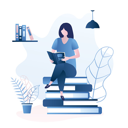 Beauty girl sitting on pile of books,female character reading book or magazine,education or learning concept,