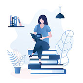 Beauty girl sitting on pile of books,female character reading book or magazine,education or learning concept,trendy style vector illustration