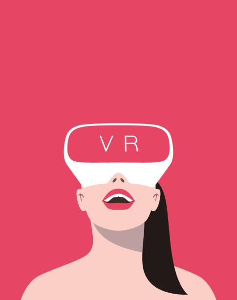 Beauty Mädchen Virtual-Reality-Brille tragen. Vorderansicht, spielen – Vektorgrafik